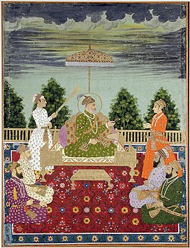 Bahadur Shah I with his sons handing a sarpech to a grandson, ca. 1710. San Diego Museum of Art.jpg