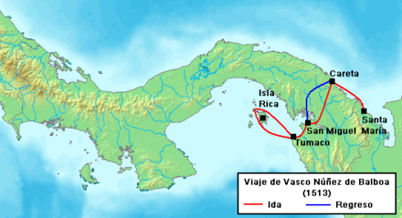 Balboa's travel route to the South Sea, 1513 Balboa Voyage 1513.PNG