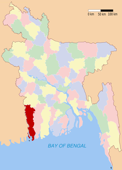 Location of Satkhira in Bangladesh