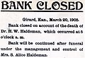 Bank of Girard Closed (March, 1905).jpg