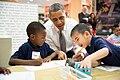 Barack Obama visits a pre-kindergarten classroom at Moravia Elementary School in Baltimore, 2013.jpg