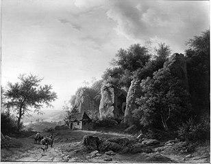 Felsenlandschaft mit Stolleneingang und Kapelle