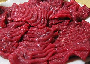 Basashi (raw horsemeat) from Towada.