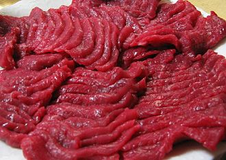 Horse meat - Raw, sliced horse meat, served in Japan as basashi