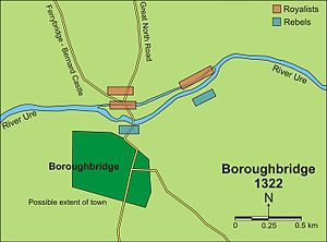 Andrew Harclay, 1st Earl of Carlisle - Map of the Battle of Boroughbridge, showing how Harclay's forces cut off Lancaster's passage across the river.