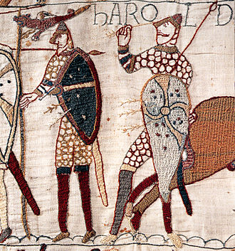 Norman conquest of England - Image: Bayeuxtapestrydeatho fharold