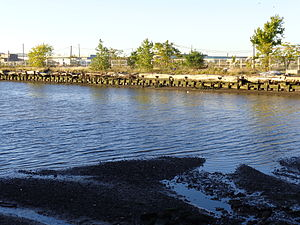 Bayfront, Jersey City - View looking north across cove at Droyer's Point