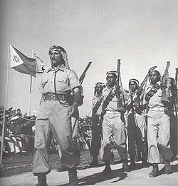 Bedouin IDF soldiers of Rumat al-Heib during a military parade in Tel-Aviv in June 1949.