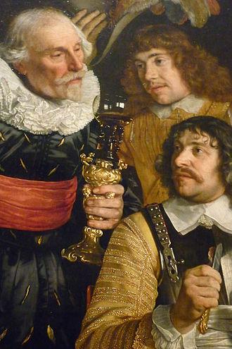Banquet of the Amsterdam Civic Guard in Celebration of the Peace of Münster - Image: Bekerschroef, detail van Schuttersschilderij uit 1648 door Barth. vd Helst