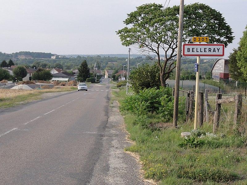 Belleray (Meuse) city limit sign