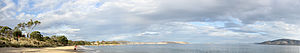 Bellerive, Tasmania - A panorama of Bellerive Beach and the mouth of the River Derwent.