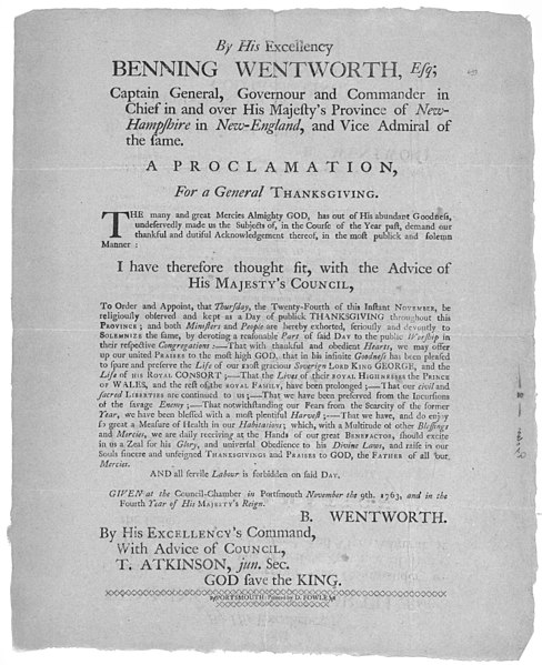 File:Benning Wentworth governor Thanksgiving Proclamation.jpg
