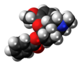 Benzhydrocodone molecule spacefill.png