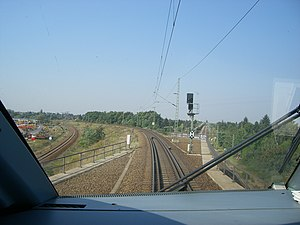 Hanover–Berlin high-speed railway - Separation of the high speed line (right) from the Berlin-Hamburg line near Spandau