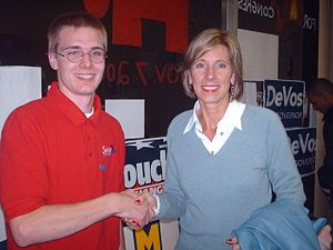 Michigan gubernatorial election, 2006 - Dick DeVos' wife, Betsy, with a supporter at a campaign event in Houghton County.