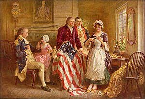 Betsy Ross flag - Betsy Ross 1777, a ca. 1920 depiction by artist Jean Leon Gerome Ferris of Ross showing Gen. George Washington (seated, left), Robert Morris and George Ross how she cut the revised five-pointed stars for the flag.