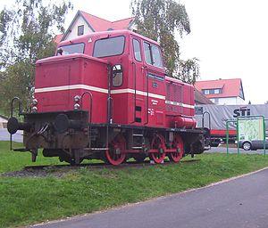 The locomotive monument in Birstein