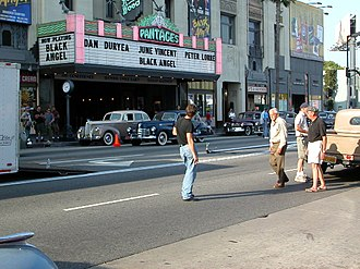 The Black Dahlia (film) - The film shooting on location in Hollywood, June 2005. Black Angel is on the marquee.