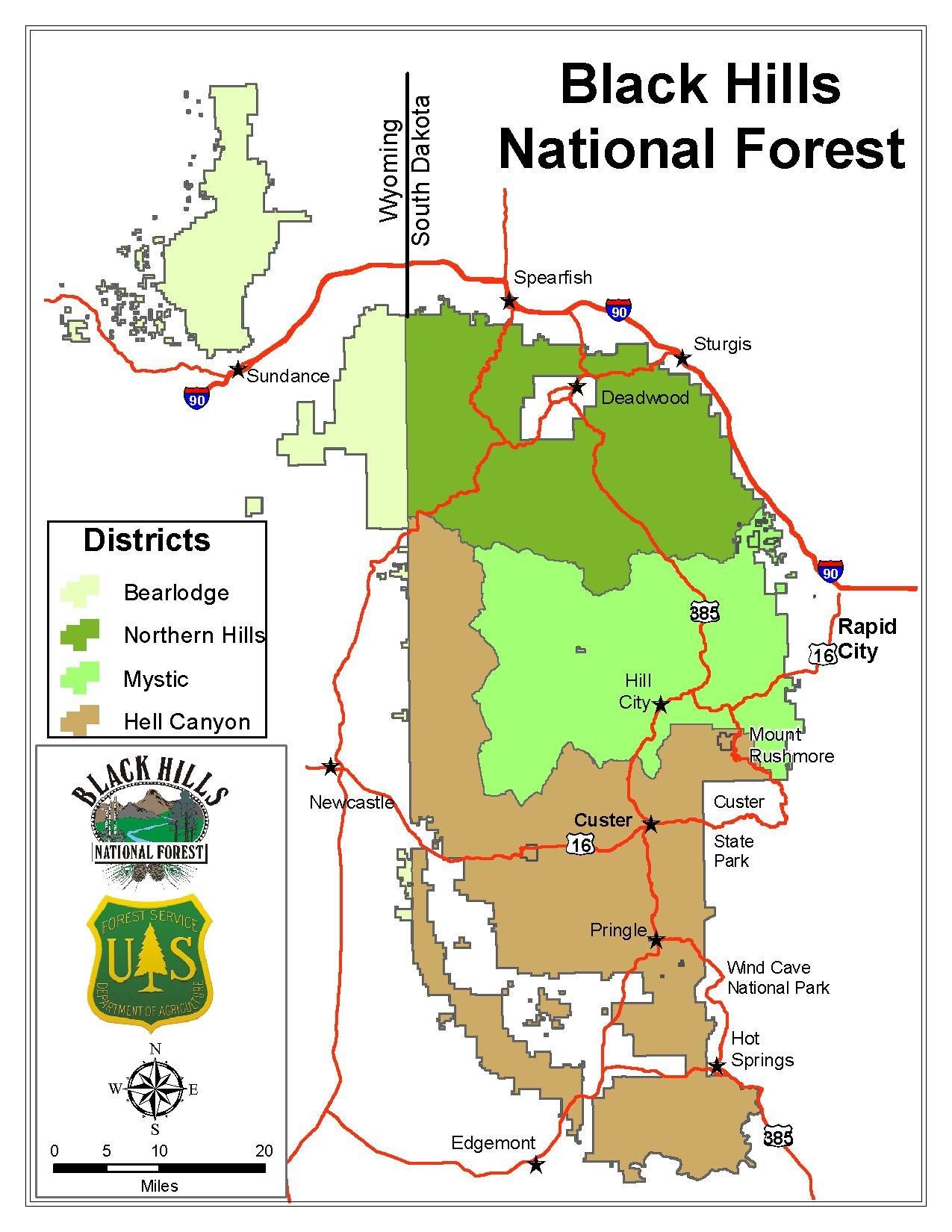 Black Hills Map File:Black Hills National Forest Districts Map.pdf   Wikipedia Black Hills Map