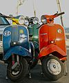 Blue, green and red Vespa scooters, Cacilhas, Almada, Portugal.jpg