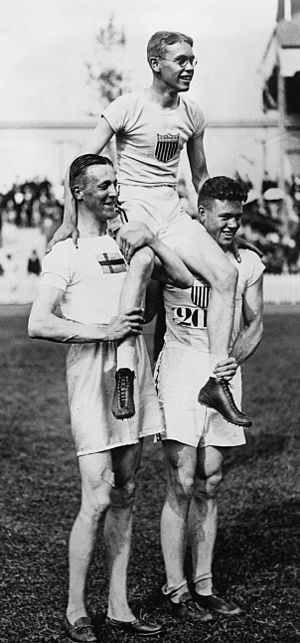 Athletics at the 1920 Summer Olympics – Men's high jump - Image: Bo Ekelund, Richmond Landon, Harold Muller 1920