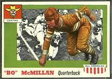 Football card with a crouching McMillin superimposed on a field of players
