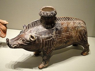 Etruscan art - Ceramic boar vessel, 600–500 BC