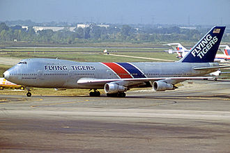 Flying Tiger Line - Flying Tigers Boeing 747-132SF freighter at Chicago O'Hare Airport in 1979