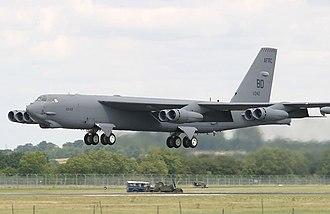 343d Bomb Squadron - Squadron B-52H Stratofortress landing at RAF Fairford