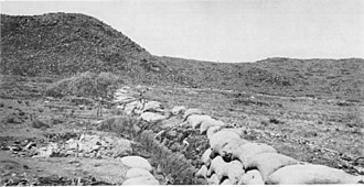 Trench - The Boer trench at the Battle of Magersfontein contributed to the surprise defeat of the Highland Brigade on 11 December 1899 during the Second Boer War.