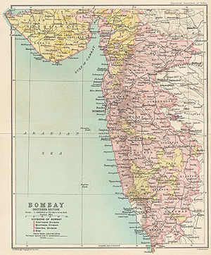 Porbandar State - Porbandar in a map of the Bombay Presidency