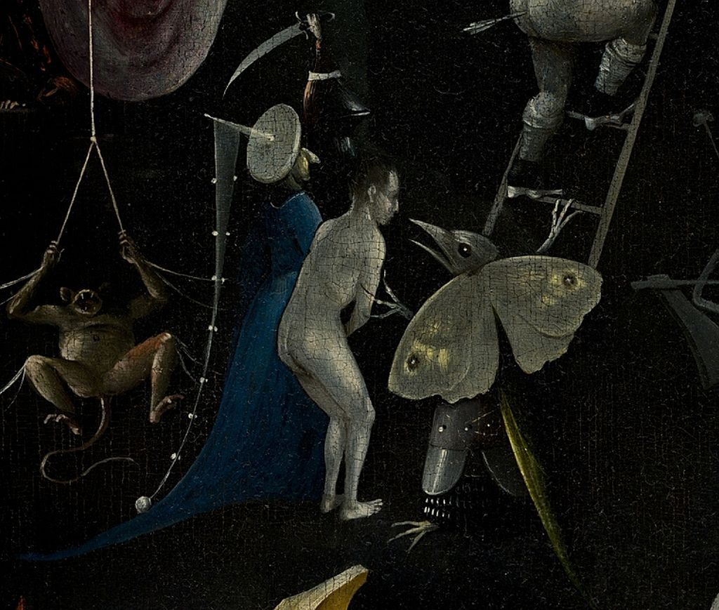 Bosch, Hieronymus - The Garden of Earthly Delights, right panel - Detail Monkey, man with blue clothes and Butterfly monster
