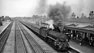 Boston railway station - View northward, towards Firsby and Grimsby in 1964