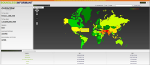 Boundless Informant - The worldwide heat map from the NSA's data visualisation tool BOUNDLESSINFORMANT, showing that during a 30-day period, 97 billion internet data records (DNI) and 124 billion telephony data records (DNR) were collected.