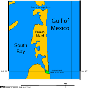 Brazos Island - A map of Brazos Island, showing that the island's landmass is not always completely surrounded by water.