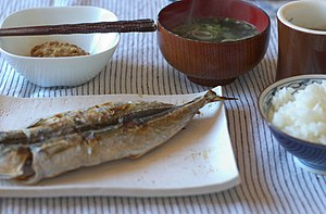 Trachurus - Japanese breakfast with grilled horse mackerel