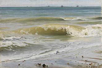 Johann Wilhelm Schirmer - Breaking Waves with Distant Ships