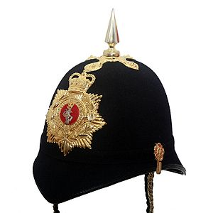 Royal Electrical and Mechanical Engineers - REME Full Dress Home Service Helmet with Brunswick star cap badge.