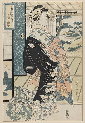 Bijin - Bijin woodblock print by Kikukawa Eizan, 19th century. Brooklyn Museum