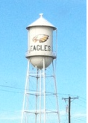 Bruceville-Eddy, Texas - Water tower at Bruceville-Eddy, TX, highlighting the high school's mascot, the Eagles
