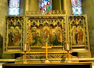 Church of St Katharine, Ickleford - The triptych behind the altar is by Charles Buckeridge