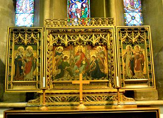 Church of St Katharine, Ickleford - The triptych behind the altar is by Charles Edgar Buckeridge