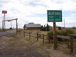 Former street sign for Buford, Wyoming