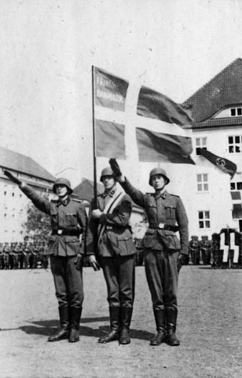 Members of the Free Corps Denmark, carrying the Danish flag, 1941 Bundesarchiv Bild 101III-Weill-096-27, Deutschland, Vereidigung von Danen.jpg