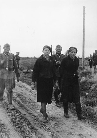 Ordnungspolizei - Anti-partisan operation in Soviet Union in 1942. Ordnungspolizei captured two Soviet women.