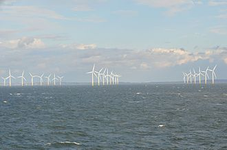 Burbo Bank Offshore Wind Farm - Burbo Bank Offshore Windfarm with North Wales behind