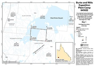 Burke and Wills Plant Camp - Boundary map, 2015