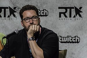 "Burnie Burns - Burnie Burns at RTX 2017 convention in Austin, Texas during the ""Red vs Blue"" panel discussion"