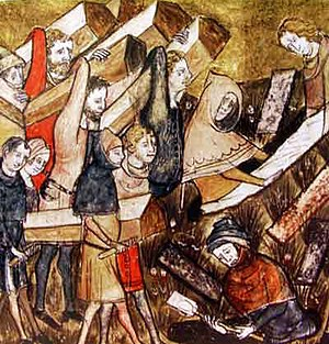"Consequences of the Black Death - Citizens of Tournai bury plague victims. Detail of a miniature from ""The Chronicles of Gilles Li Muisis"" (1272-1352). Bibliothèque royale de Belgique, MS 13076-77, f. 24v."