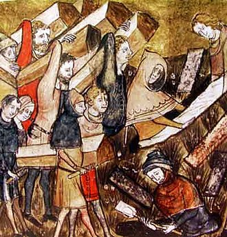 14th century - Burying coffins of Black Death victims in Tournai.